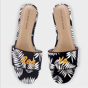 """Who What Wear Sloan Palm Slide """"See Ya"""" Sandals 8"""